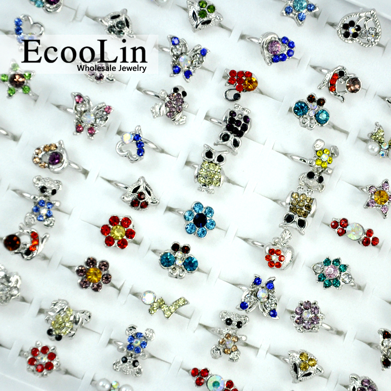 30Pcs Multicolor Acrylic Lovely Silver Plated Adjustable Rings For Women and Girls Fashion Wholesale Cheap Jewelry Lots LR053