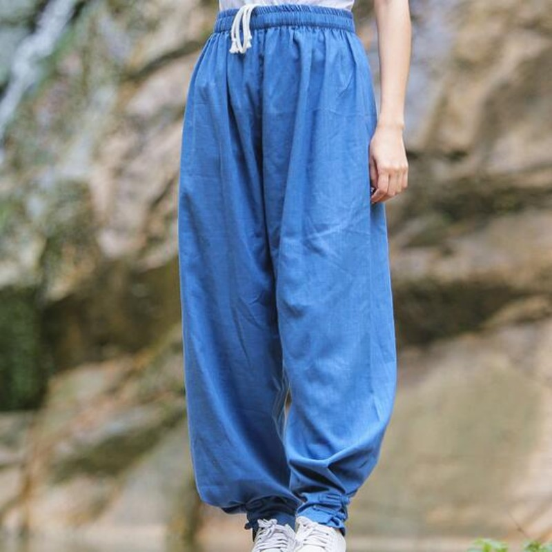 Top Quality Cotton Linen Sports Trousers For Women Chinese Style Yoga Martial Arts Kung Fu Pants Women Solid Color Comfortable