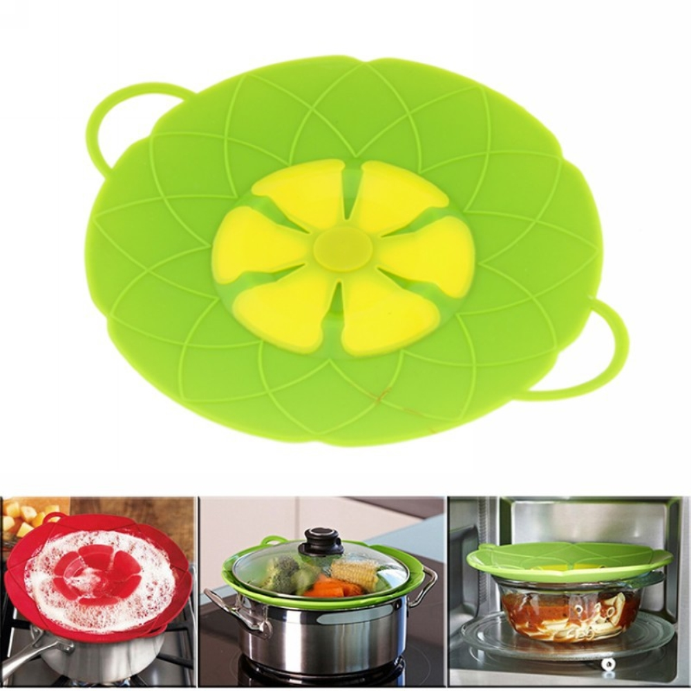 New Kitchen Gadgets Safe Silicone Lid Spill Stopper Pan Cove