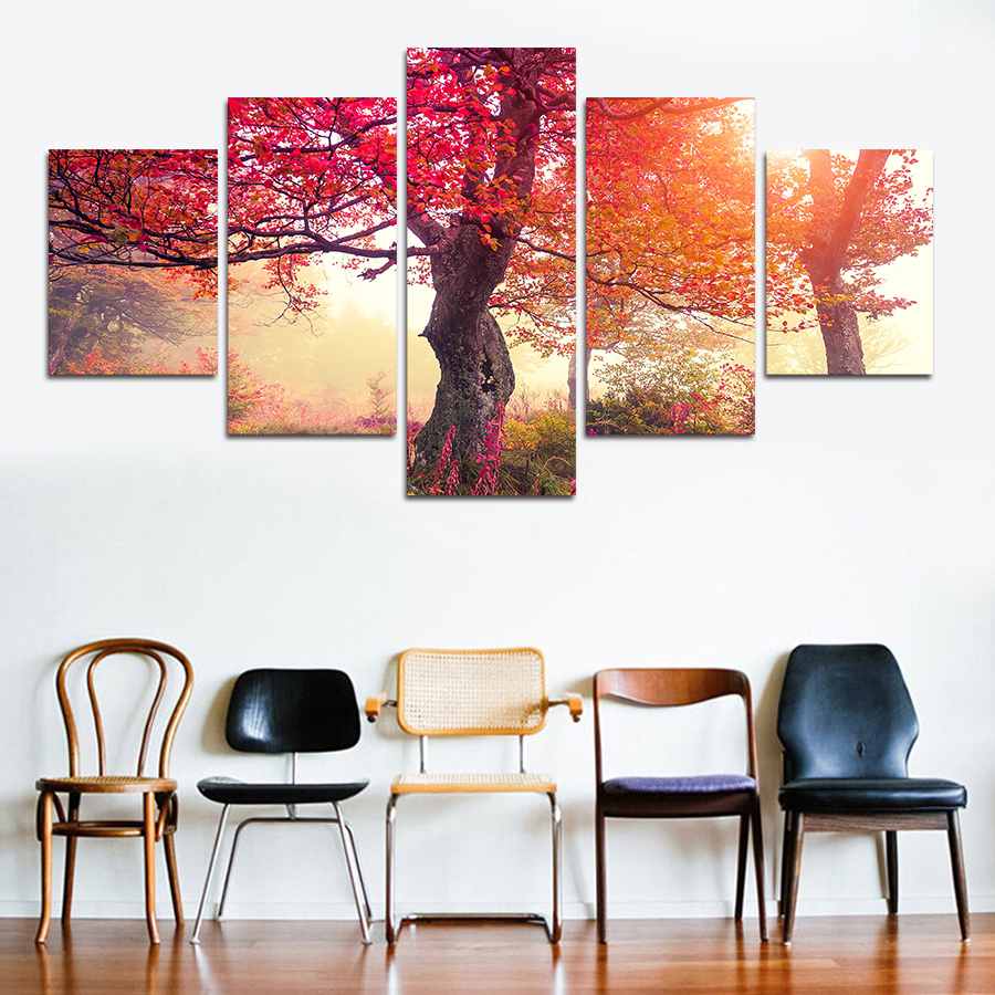 AtFipan Canvas Painting Purple Red Maple Trees Wall Pictures For ...