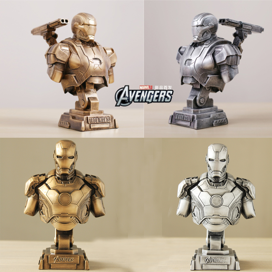 SAINTGI Iron Man 3 MARK43 statue metal Action Figure Gold Edition The Avengers Anime Marvel MK42 Toy Classic Collection 23cm фигурка planet of the apes action figure classic gorilla soldier 2 pack 18 см