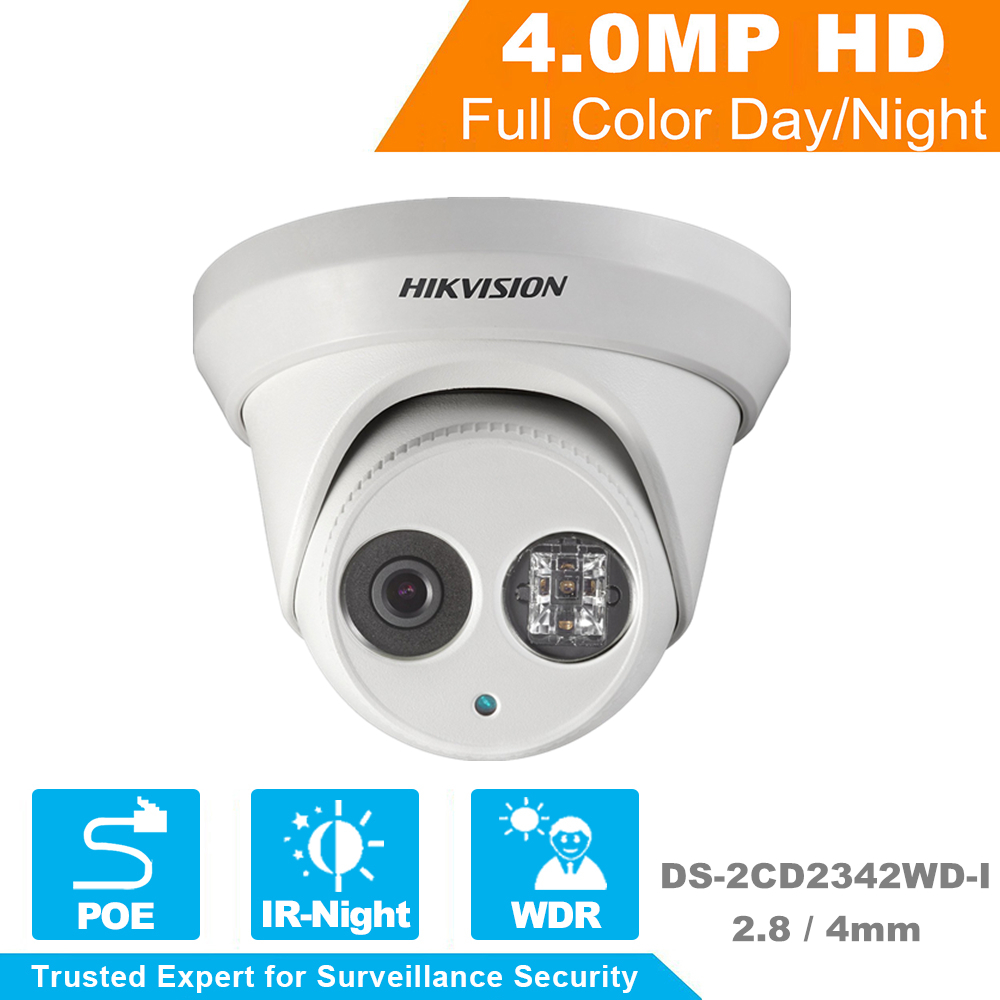 2Pcs HIKVISION  English Version DS-2CD2342WD-I 4MP WDR EXIR Turret Network Camera MINI Dome IP Camera CCTV Camera 2.8/4mm Lens hikvision cctv poe 4mp camera ds 2cd3345 i hd night version onvif exir turret wdr dome ip security camera replace ds 2cd2345 i