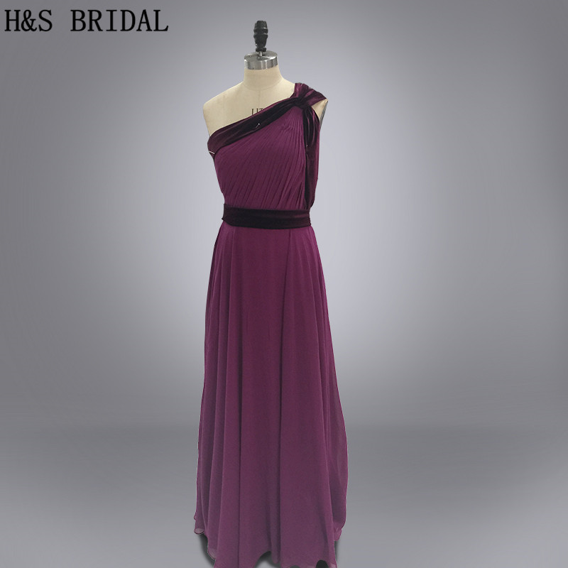 Real photo Purple long chiffon cheap   bridesmaid     dresses