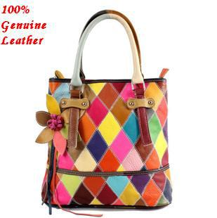 Guaranteed 100 Patchwork Genuine Leather Handbags Cowhide Natural Women Multicolor Shoulder Bags Female 2017