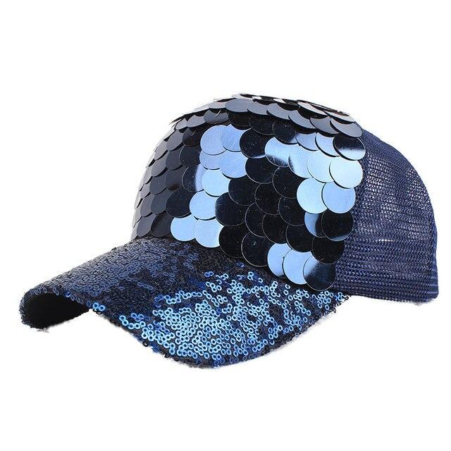 becbc2bea04 Baseball Cap Metallic Women Fish-Scale Sequins Caps Casual Snapback Hat  Girl Casquette Gorras Bone Rainbow Summer Female Fashion