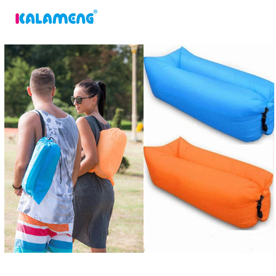Portable folding bed in a bag - Portable Ripstop Nylon Air Folding Bed Inflatable Sleeping Bag Air Lounger Air Couch Camping Air Mattress Lazybag Inflatable Bag