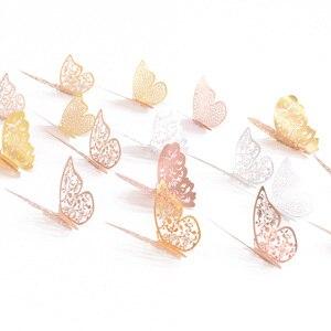 Image 3 - 12 sztuk/zestaw 3D naklejki ścienne motyl wytłaczany papier naklejki motyle na ślub urodziny domu pokój diy deco Baby Shower Supplie