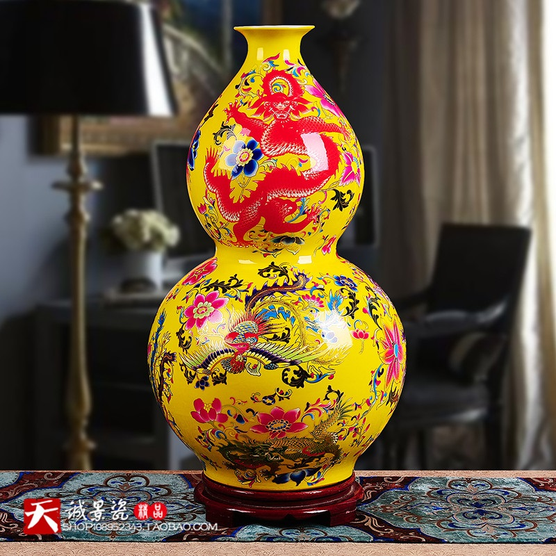65 cm Jingdezhen céramique glaçure cristal jaune dragon Phoenix atterrissage grands vases chinois ameublement ornements décorations