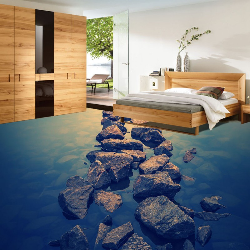 Free Shipping Stone path leading sea 3D floor wallpaper living room hotel waterproof self-adhesive non-slip floor mural