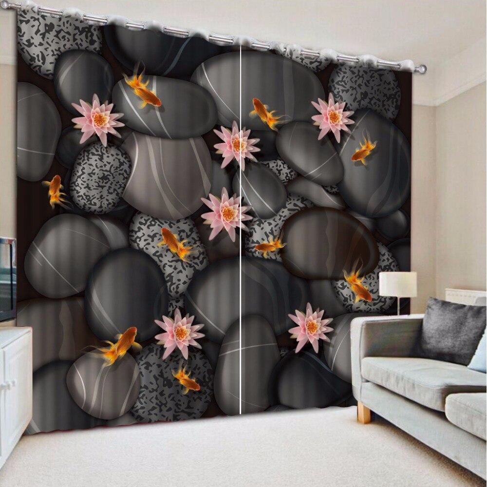 3D Curtain Decorative Curtain Black Cobblestone Flowers 3D Bathroom Shower Curtain Blackout