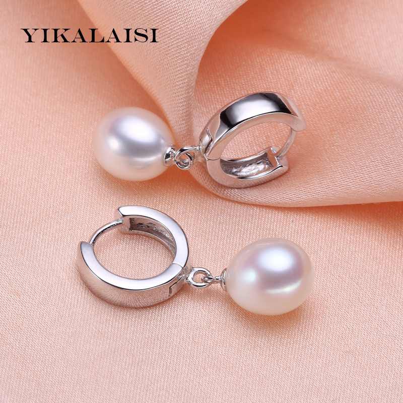 YIKALAISI 2017 100% Natural Freshwater Pearl sutd Earrings 8-9mm Pearl Jewelry 925 sterling silver jewelry For Women best gift yikalaisi 2017 natural freshwater pearl necklace sets pendant drop earrings 925 sterling silver jewelry for women best gifts