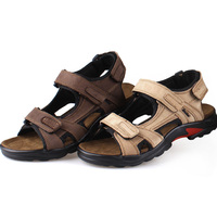 Men S Sandals Slippers Genuine Leather Cowhide Men Sandals Brand Designer Classical Summer Flat Footwear Man