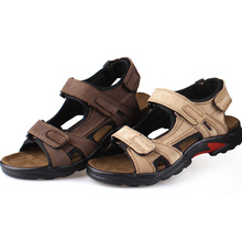 Men'S Sandals Slippers Genuine Leather Cowhide Men Sandals Brand Designer Classical Summer Flat Footwear Man Beach Casual Shoes
