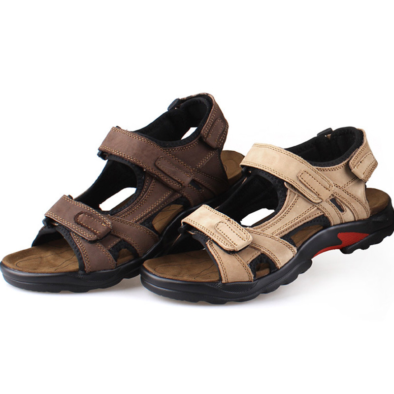 MenS Sandals Slippers Genuine Leather Cowhide Men Sandals Brand Designer Classical Summer Flat Footwear Man Beach Casual Shoes