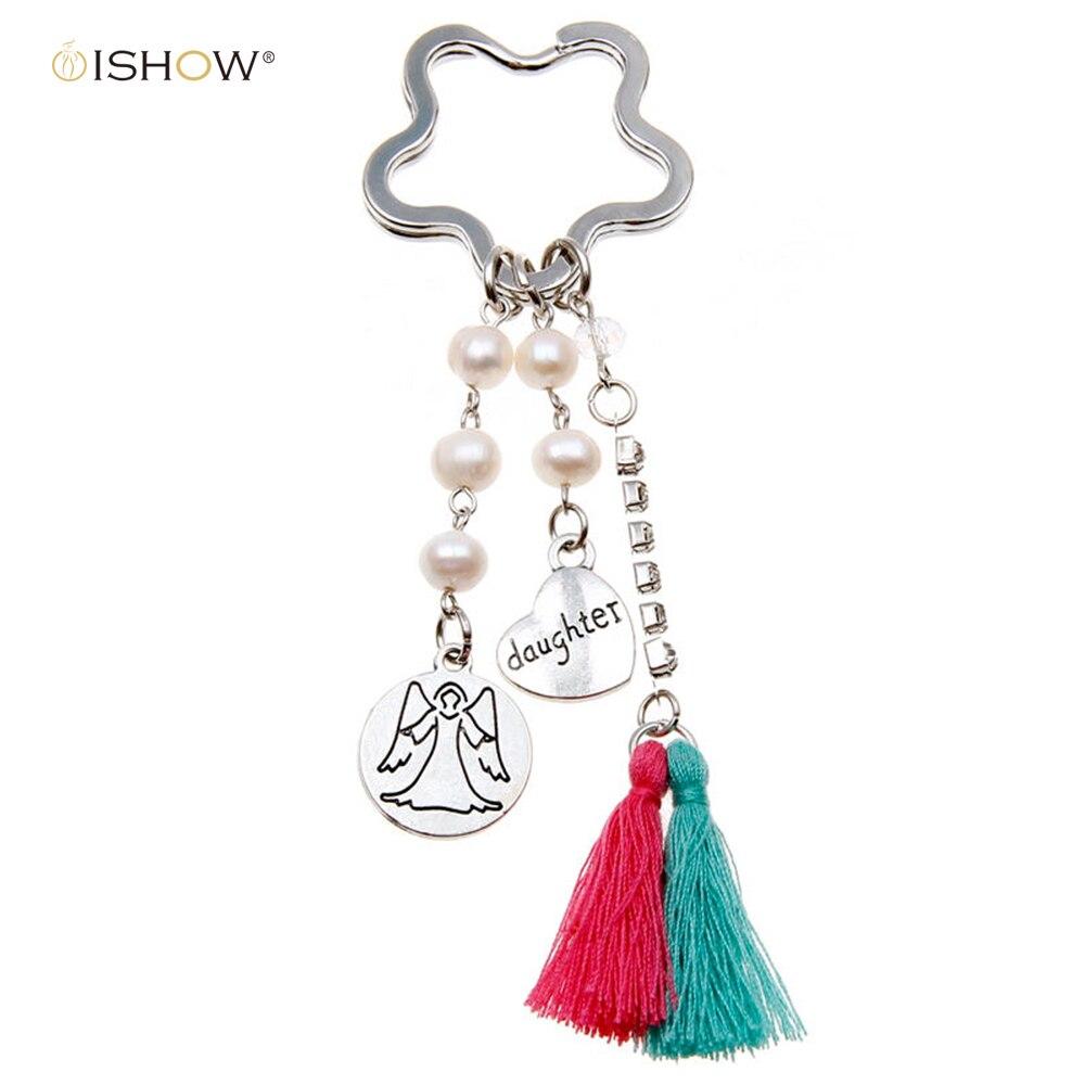 cf85099d8a9b Mode argent coeur keychain guareian ange pour bonheur fille porte-clés  strass glands porte-clés lune chave llavero
