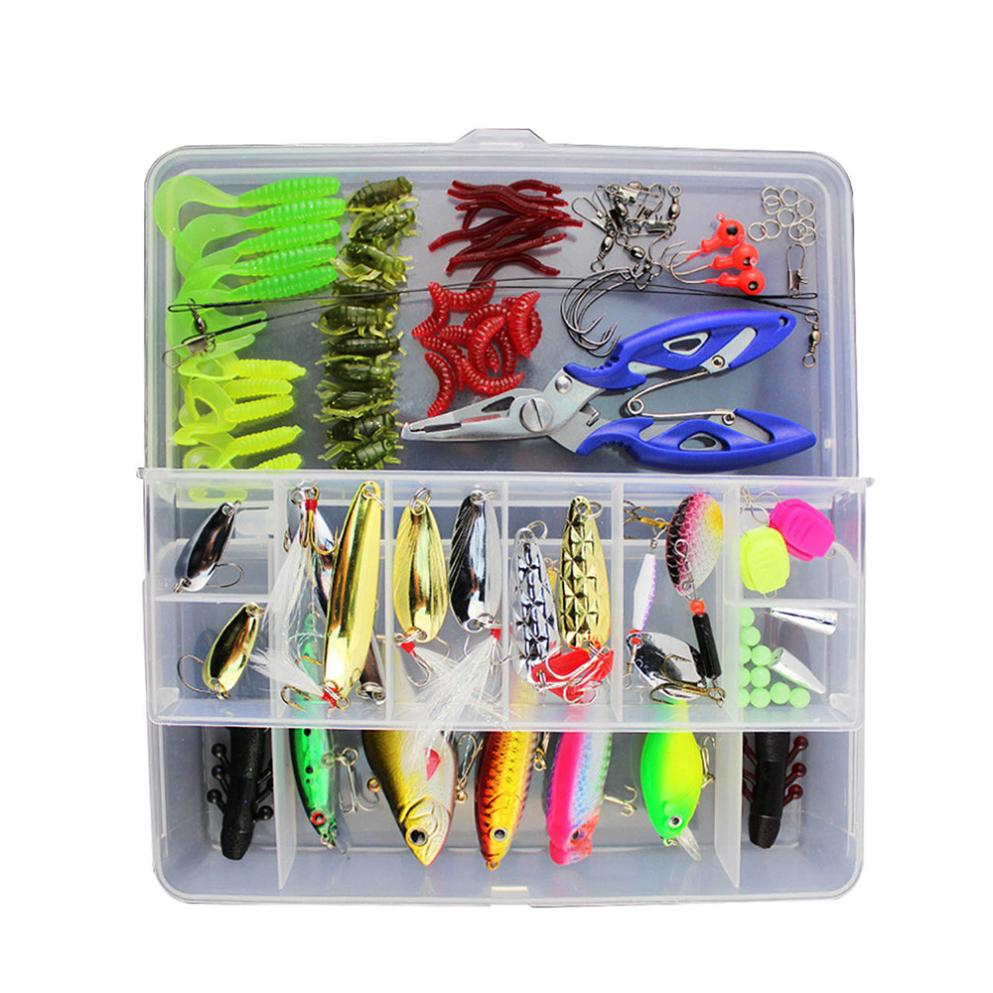 Multifunctional 101Pcs Trout Bass Fishing Lures Crankbaits Set Kit Soft Sequins and Hard Bait Hooks+ Box Fishing Accessories 101pcs set almighty fishing lures kit with box hard soft bait minnow spoon crank shrimp jig lure fishing tackle accessories