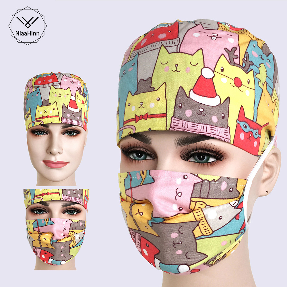 Hospital Surgical Cap For Women Men Operating Room Hat Doctors Nurses Surgery Hat Cute Cartoon Printing Adjustable Medical Caps