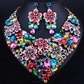 Moda Crystal Rhinestone Nupcial Conjunto Joyería de La Boda Prom Party Accesorios de Oro Pendiente Del Collar Set Para Novias Mujeres