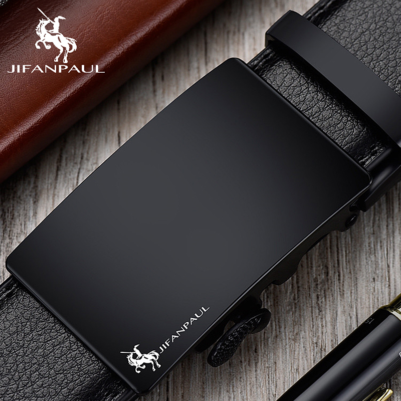 JIFANPAUL brand men's leather genuine belt black fashion alloy luxury automatic buckle youth leather simple business men's belt