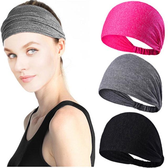 d895aec58eeb 2018 Women Men Pure Color Sweatband Gym Stretch Headband Hair Band Head  Warp Hair Band Wide Elastic Headband Sport Yoga  Y17