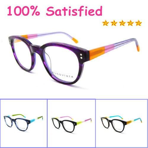 Новая модель 2017 женщины круглый ретро твердые черные ацетат оптических кадр очки старинные фиолетовые очки кадры b140270