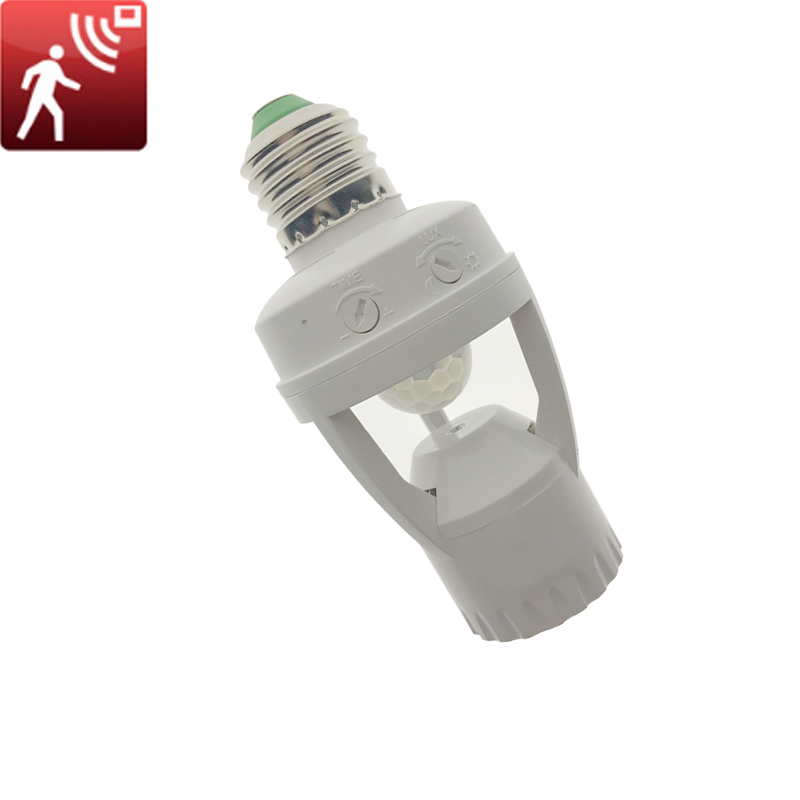 Smart 110V-240V PIR Induction Infrared Motion Sensor E27 LED lamp Base Holder With light Control Switch Bulb Socket Adapter