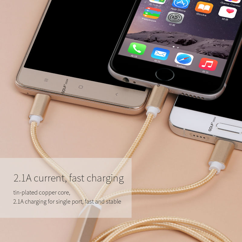 GOLF 3 in 1 Micro Type-C USB Cable For Phone 7 6 6s Plus 5s SE Android Phone For Samsung Xiaomi Huawei Data Sync Charger Cable