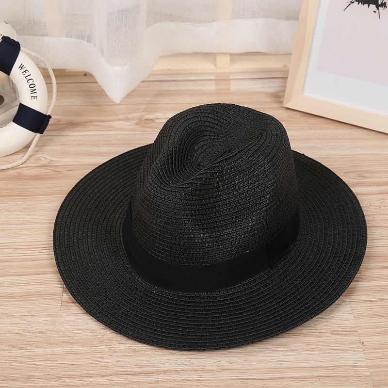 الظل قبعات الجاز قبعة الشريط الجولة شقة علوي القش شاطئ بنما قبعة قبعات صيفية للرجال النساء قبعات من القش Snapback Gorras