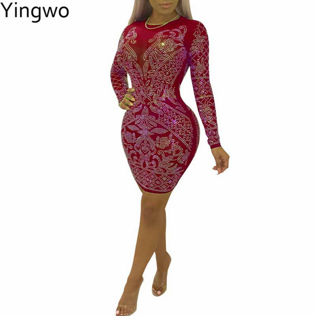 Red Black Purple Rhinestones Long Sleeve O Neck Bodycon Dress Sexy See  Through Mesh Night Out Club Wear Package Hips Mini Dress 642b6d4c4afb