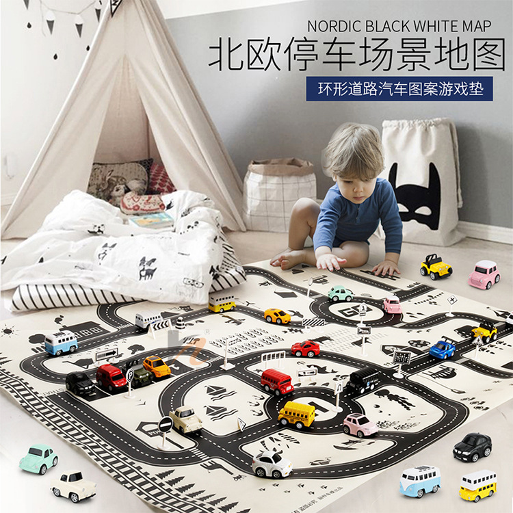 Nordic 130*100 City Parking Space Map Play Mat Waterproof /Traffic signs /Alloy Car Model For Children Educational Toys