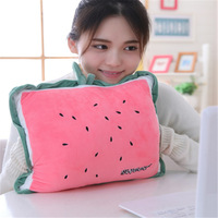 Cartoon fruit pillow, warm hands, plush toys, air conditioning blanket, three in one gift