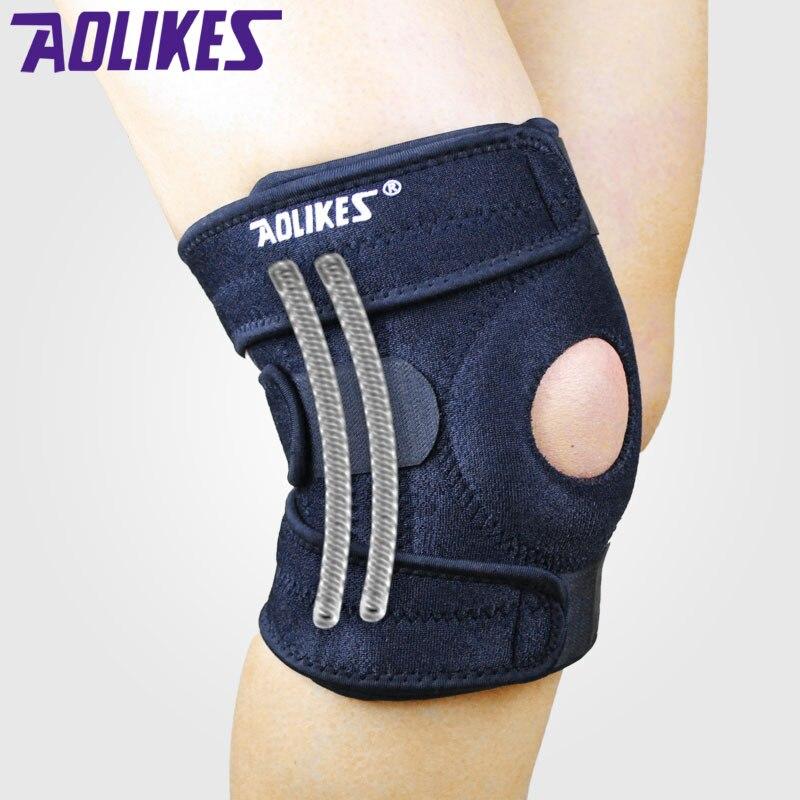4 primavera soporte ajustable deportes pierna rodilla soporte Brace Wrap Protector almohadillas seguridad rodilla Brace rótula Protector