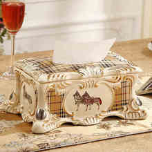 10 horse tissue box ceramic Removable Paper holder Tissue case Decorative for home decor