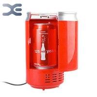 Envío gratis Usb Mini Refrigerador Nevera portátil rojo Refrigerador Portatil bebidas latas de bebidas enfriador y calentador Mini Nevera