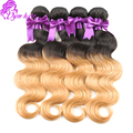 Mongolian Body Wave Ombre Virgin Hair Bundle Deals Mongolian Body Wave 2 Tone T1B/27 Ombre Hair 4 Bundles Soft Human Hair Weave
