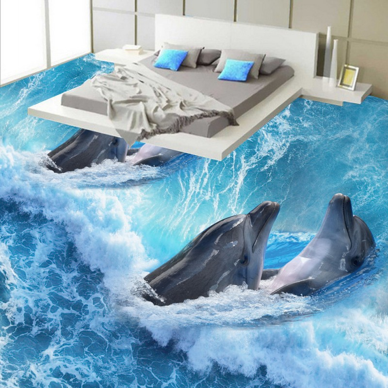Free Shipping Mother son Dolphin bathroom bedroom 3D floor painting thickened self-adhesive living room lobby flooring mural