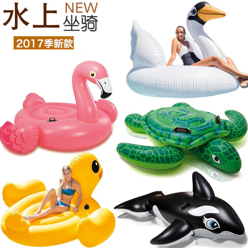 2017 New Children&Adults Water Amusement Parks Animal Mounts Inflatable Toys Flamingo Floats Floating Beds Swimming Laps flamingo white swan inflatable swimming mounts on water floating bed floating row unicorn adult swimming ring