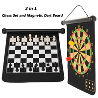 2 in 1 Chess Set Magnetic Dart Board Outdoor Travel Family Entertainment Chess Dart Game 36*31cm