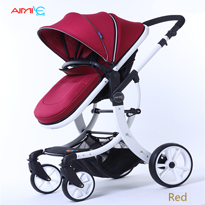 Aimile baby stroller can sit and lie down to fold the shock of the four seasons baby children's high landscape hand BB cart belecoo bei li ke high landscape baby cart trolley can sit and fold the double direction shock 3 in 1 baby stroller