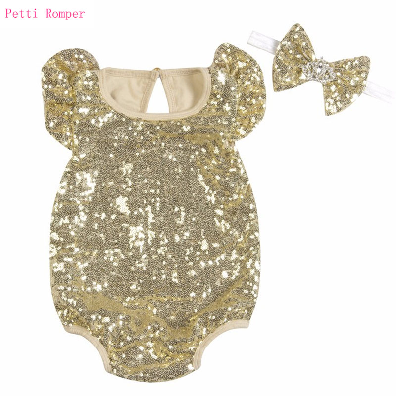 5 Color Cotton Baby Girl Sequin   Rompers   +Headband Newborn Infant Sparkly Jumpsuit Baby Girl Summer Clothing set