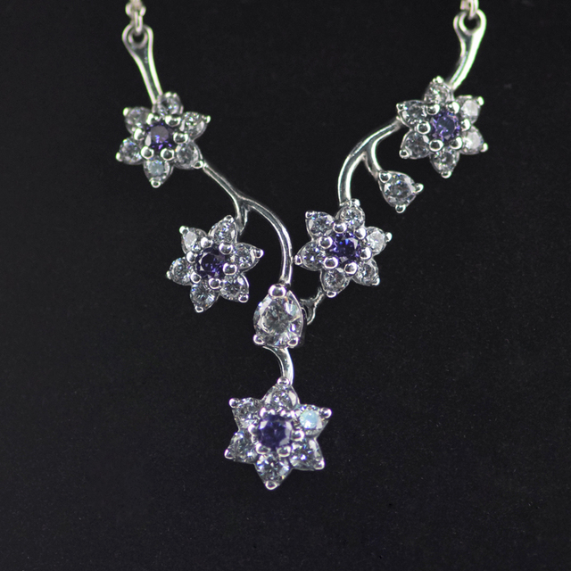 Forget Me Not Necklace and Pandent with Purple and Clear Cubic Zirconia 925 Sterling Silver Free Shipping