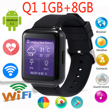 "Q1 Smart Uhr MTK6580 1 GB + 8 GB 1,54 ""Display Android 5.1 WiFi GPS 3G Bluetooth Smartwatch Unterstützung NANO Sim-karte Telefon"
