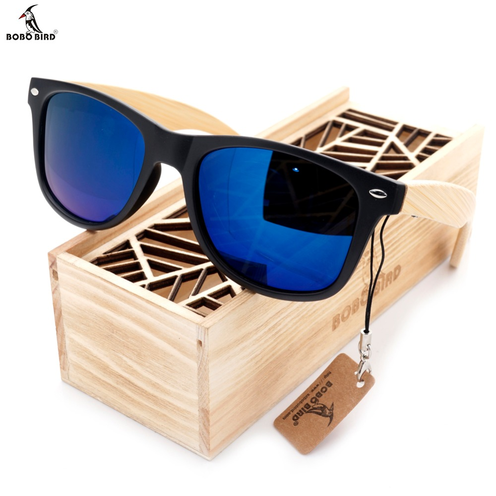 BOBO BIRD High Quality Vintage Black Square Sunglasses Dengan Kaki Buluh Cermin Polarized Summer Style Travel Eyewear Wood Box