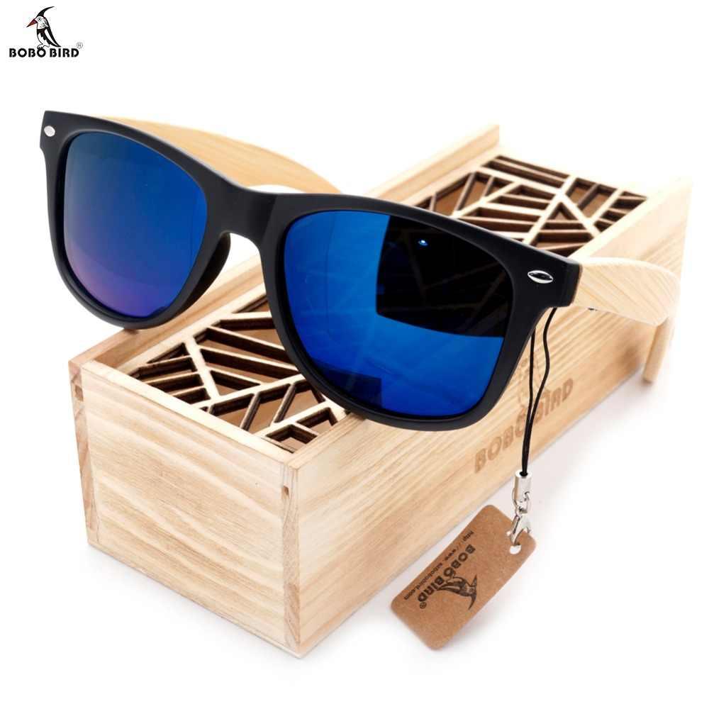 BOBO BIRD, gafas de sol negras cuadradas para hombres y mujeres con patas de bambú, gafas de sol polarizadas con espejo para verano, gafas de viaje, caja de madera