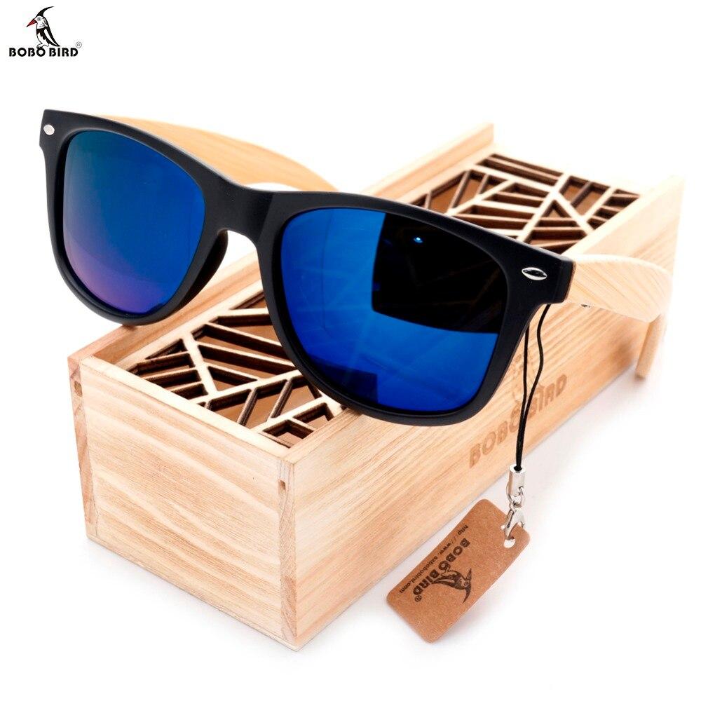BOBO VOGEL Hohe Qualität Vintage Schwarzen Quadrat Sonnenbrille Mit Bambus Beine Gespiegelt Polarisierte Stil Reise Brillen Holz Box