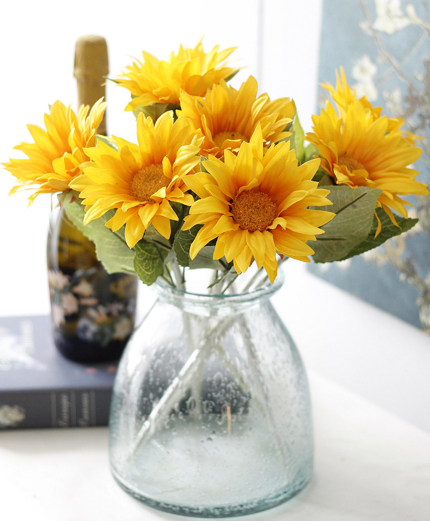 1pc Diy Fresh Artificial Flower Sunflower Yellow Silk Fake Plant For Wedding Home Party Decoration