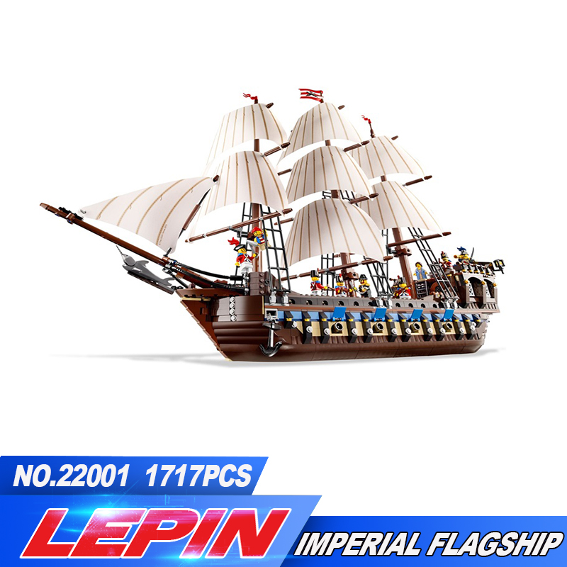 New Lepin 22001 in Stock Pirate Ship Imperial warships Model Building Kits Block Briks Toys Gift 1717pcs Compatible legoed 10210 new lepin 22001 pirate ship imperial warships model building block kitstoys gift 1717pcs compatible10210 children birthday