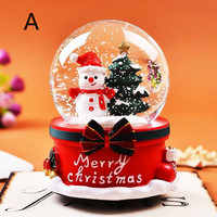 Crystal Ball With Light Home Bedroom Xmas New Year Birthday Gifts Christmas Snow Globe Music Box Santa Snowman LU11271652