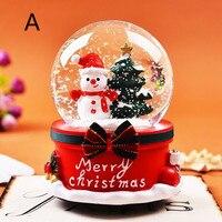 Crystal Ball With Light Home Bedroom Xmas New Year Birthday Gifts Christmas Snow Globe Music Box Santa Snowman LU11271652