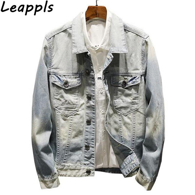 Leappls denim jacket Men Coats 100% Cotton fashion Vintage Gripper jaqueta jeans masculina casaco masculino casacas para hombre